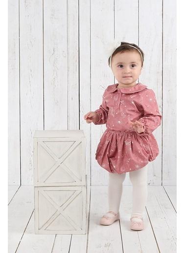 Nila Kids Cosmo Girl Organik Kız Bebek Tulum Elbise NK01015AOP 3-6A (3 AY- 1 YAş) Pembe